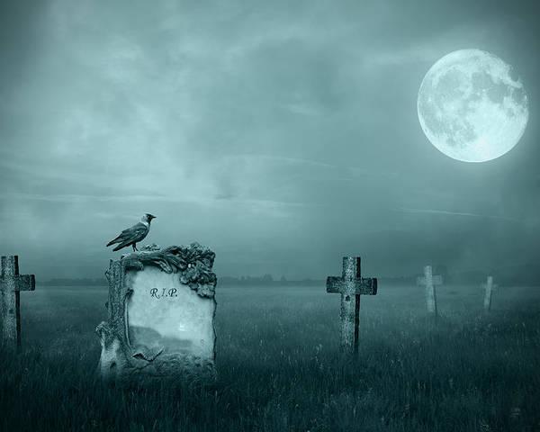 Ancient Poster featuring the photograph Gravestones In Moonlight by Jaroslaw Grudzinski