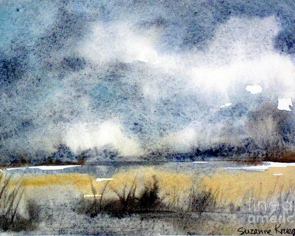 Landscape Poster featuring the painting Gray Day by Suzanne Krueger