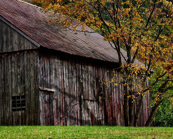 #jefffolger Poster featuring the photograph Gray Weathered Barns Number Three by Jeff Folger