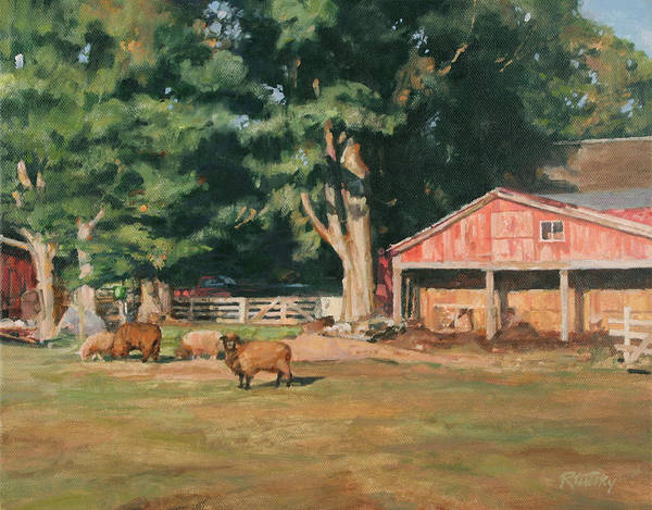 Sheep Poster featuring the painting Grazing Sheep by Robert Tutsky