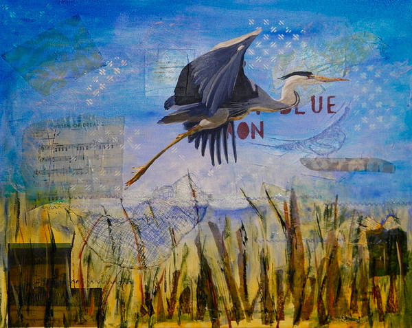 Landscape Poster featuring the painting Great Blue Heron by Terry Honstead