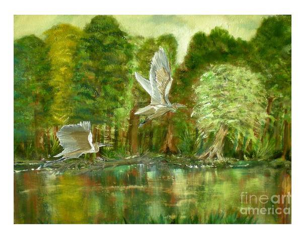 River Scene Poster featuring the painting Great Blue Herons by Hal Newhouser