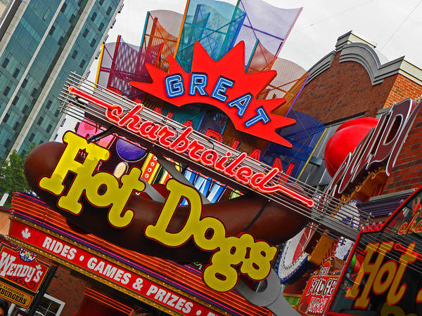 Neon Signs Poster featuring the photograph Great Charbroiled Hot Dogs by Elizabeth Hoskinson