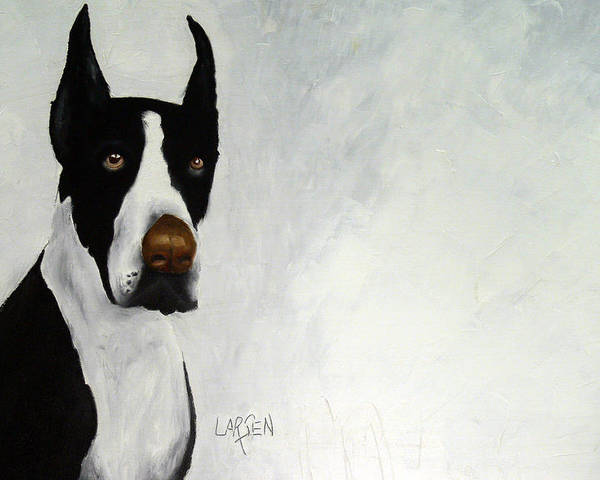 Poster featuring the painting Great Dane by Dick Larsen