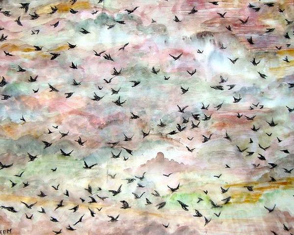 Birds Poster featuring the painting Great Flock In Flight by Caroline Urbania Naeem