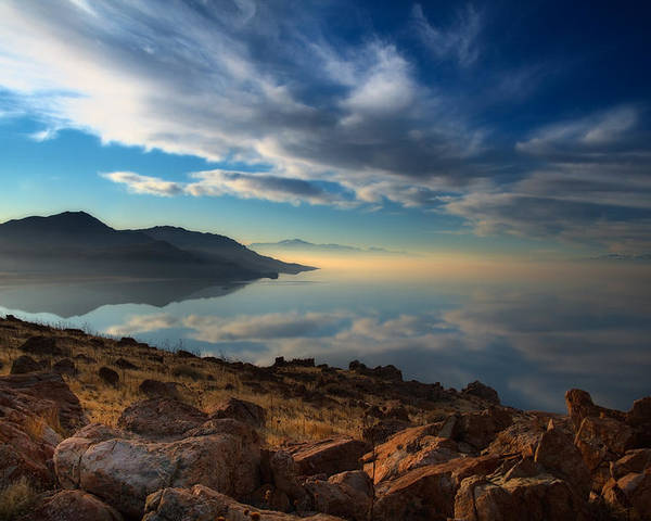 Antelope Island Poster featuring the photograph Great Salt Lake Utah by Douglas Pulsipher