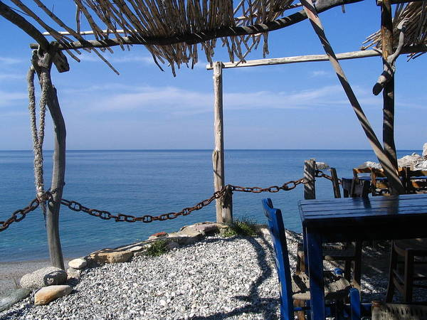 Greece Poster featuring the photograph Greece Skiathos Kastro Taverna by Yvonne Ayoub