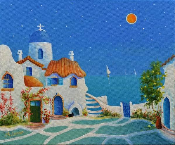Greek Blue Poster featuring the painting Greek Blue Santorini A Greek Fairytale by Ray Gilronan