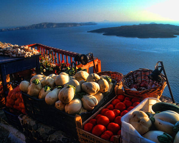 Europe Poster featuring the photograph Greek Food At Santorini by David Smith