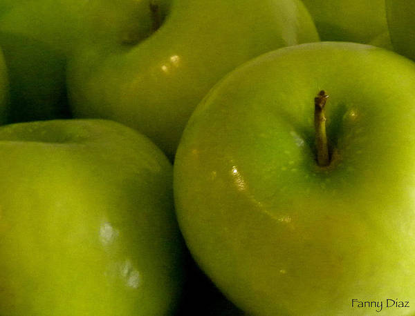 Green Poster featuring the photograph Green Apples 2 by Fanny Diaz