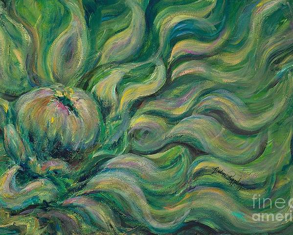 Green Poster featuring the painting Green Flowing Flower by Nadine Rippelmeyer