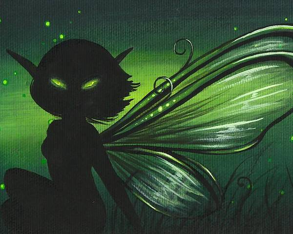 Fantasy Fairy Poster featuring the painting Green Glow by Elaina Wagner