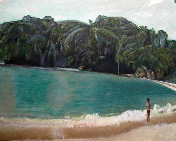 Beach Poster featuring the painting Green Lagoon by Keith Bagg