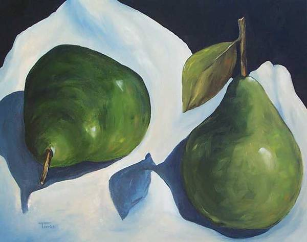 Green Pears Poster featuring the painting Green Pears On Linen - 2007 by Torrie Smiley
