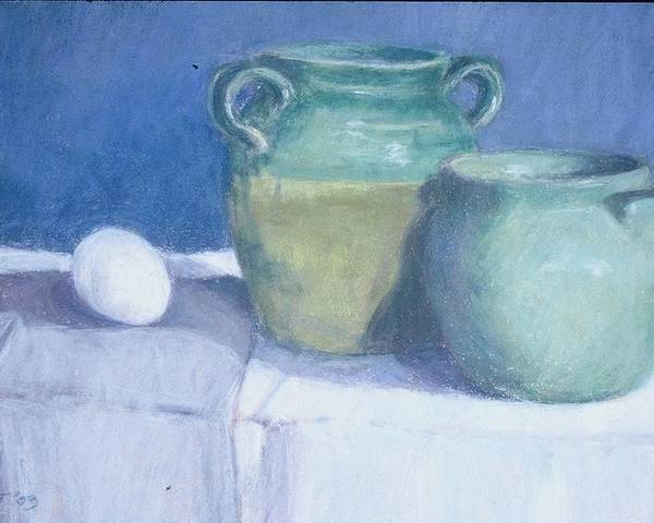 Pastel Still Life Poster featuring the painting Green Pots by Dolores Holt