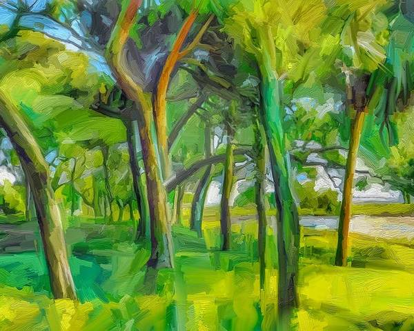 Green Shore Trees Landscape Florida Trees Poster featuring the digital art Green Shore Trees by Scott Waters