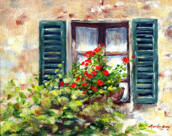 Floral Poster featuring the painting Green Shutters by Marsha Young