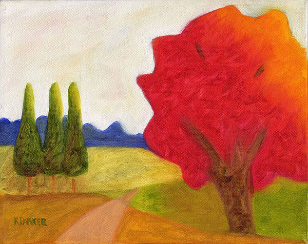 Landscape Poster featuring the painting Green Trees by Kelly Parker