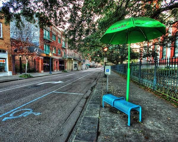 Alabama Poster featuring the digital art Green Umbrella Bus Stop by Michael Thomas