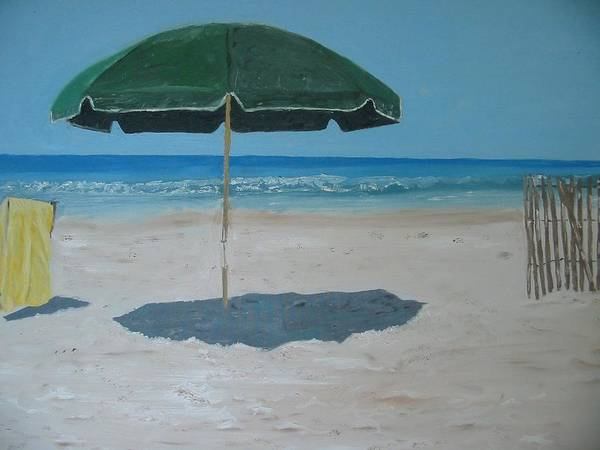 Seascape Poster featuring the painting Green Umbrella by John Terry