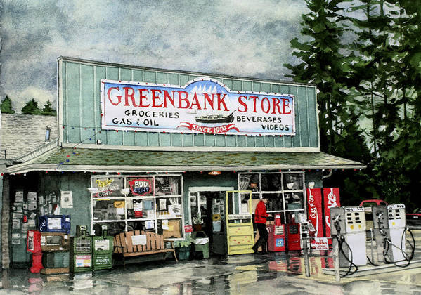 Gas Station Poster featuring the painting Greenbank Store by Perry Woodfin