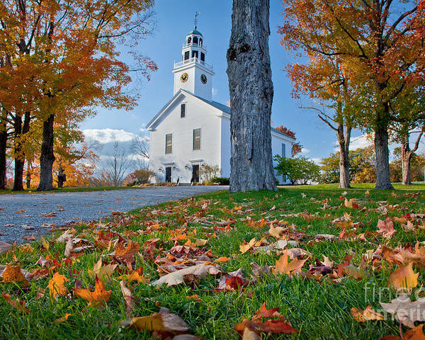 Autumn Poster featuring the photograph Greenfield Church by Susan Cole Kelly