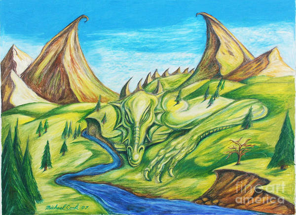 Dragons Landscapes Poster featuring the drawing River Rage by Michael Cook