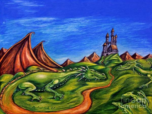 Dragons Surreal Fantasy Poster featuring the drawing Family by Michael Cook