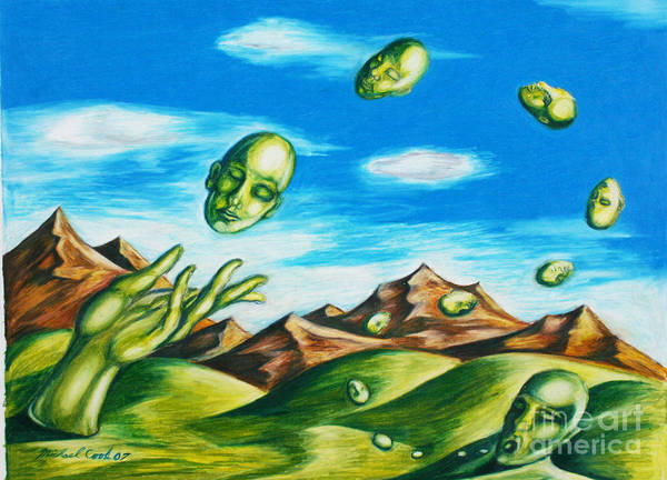 Surreal Landscape Poster featuring the drawing Earthly Flow by Michael Cook