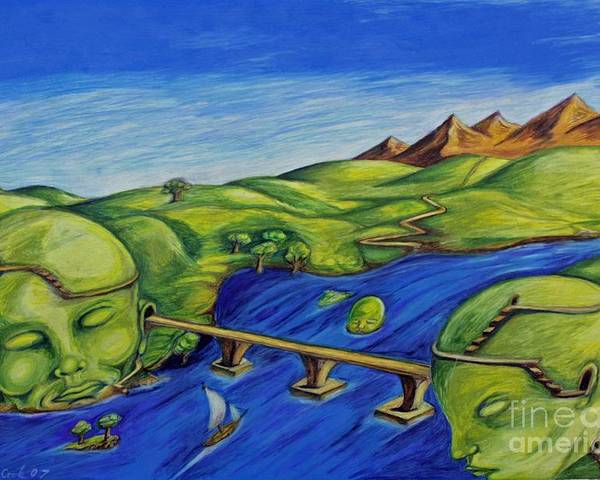 Surreal Fantasy Landscape Poster featuring the drawing Sounds Of The Heart Beat by Michael Cook