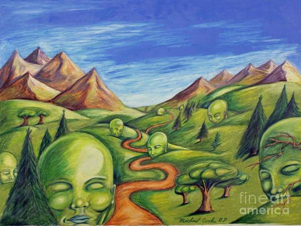 Green Surreal Landscapes Poster featuring the drawing The Journey by Michael Cook