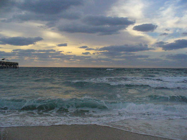 Seascape Poster featuring the photograph Grey Dawn by Peggy King