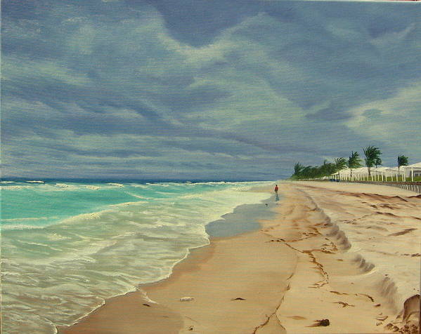 Beach Poster featuring the painting Grey Day On The Beach by Lea Novak