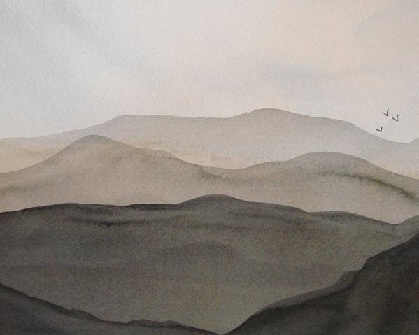 Landscape Poster featuring the painting Grey Mountains by Liz Vernand