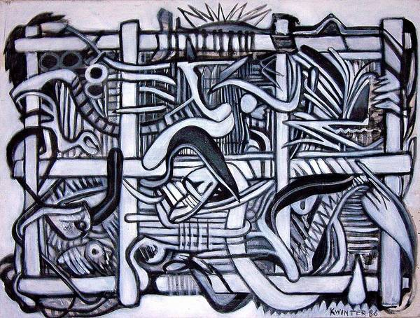 Abstract Black White Poster featuring the painting Grid by Dave Kwinter