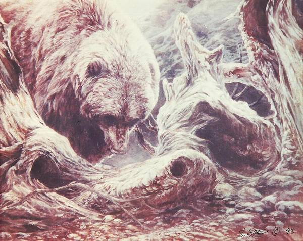 Bear Poster featuring the painting Grizzly Bear by Steve Greco