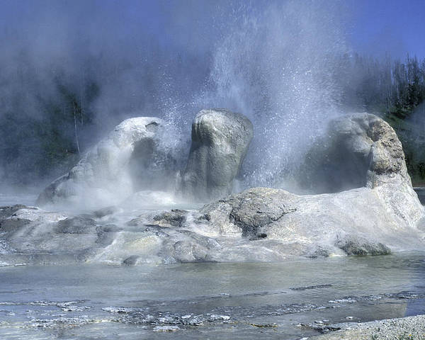 Yellowstone Poster featuring the photograph Grotto Geyser - Yellowstone National Park by Sandra Bronstein