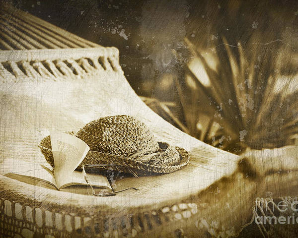 Garden Poster featuring the photograph Grunge Photo Of Hammock And Book by Sandra Cunningham