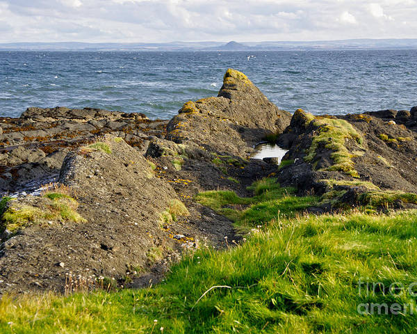 Rocks On The Seashore Poster featuring the photograph Guarding The Coast. by Elena Perelman