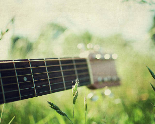 Horizontal Poster featuring the photograph Guitar In Country Meadow by Images by Victoria J Baxter