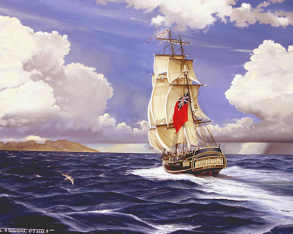 Marine Poster featuring the painting H. M. S. Bounty At Tahiti by Marc Stewart