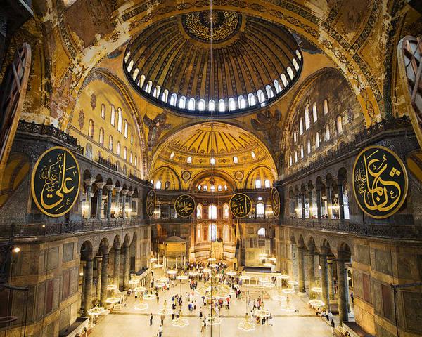 Hagia Poster featuring the photograph Hagia Sophia Interior by Artur Bogacki