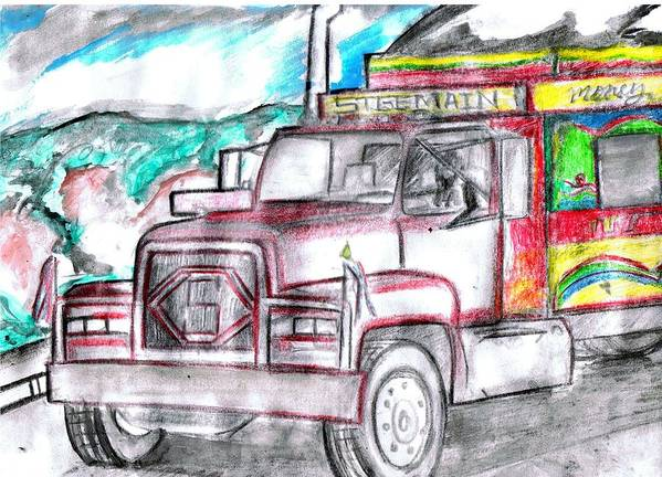 Trucks Poster featuring the drawing Haitian Travel by HPrince De Artist