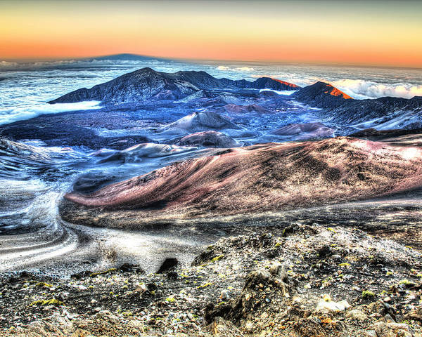 Haleakala Canyon Poster featuring the photograph Haleakala Crater Sunset Maui by Shawn Everhart