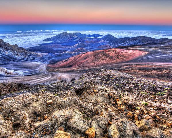 Haleakala National Park Poster featuring the photograph Haleakala Crater Sunset Maui II by Shawn Everhart
