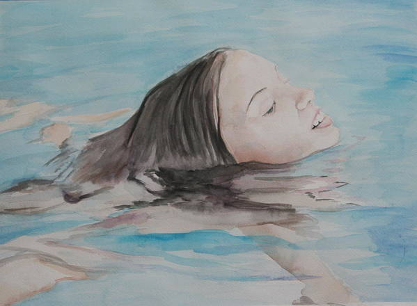 Girl Poster featuring the painting Haley In The Pool by Charlotte Yealey