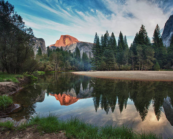 Horizontal Poster featuring the photograph Half Dome And Merced by Mimi Ditchie Photography