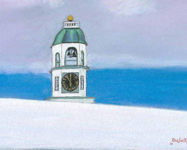 Halifax Poster featuring the pastel Halifax Old Town Clock by Rae Smith PSC