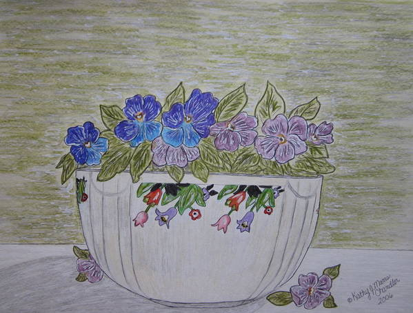 Hall China Poster featuring the painting Hall China Crocus Bowl With Violets by Kathy Marrs Chandler