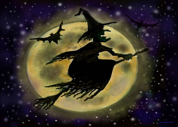 Halloween Poster featuring the digital art Halloween Witch by Kevin Middleton